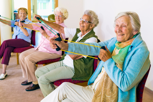 A group of seniors doing gentle exercises